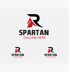 Initial r spartan logo creative spartan logo vector