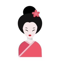 Japanese woman folk-art maiden cute kokeshi vector