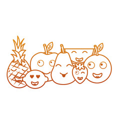 kawaii fruits cartoon character friends funny vector image
