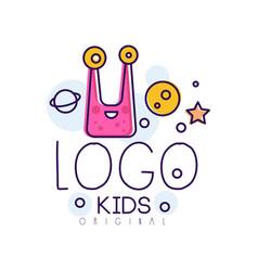 Kids logo original creative concept template hand vector