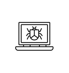laptop virus technology internet line style vector image