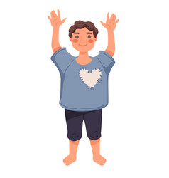 Little boy or toddler standing with hands up vector