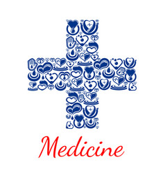 medicine poster of cross symbol hearts vector image