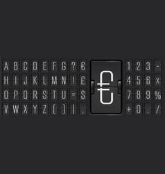Narrow airport terminal mechanical scoreboard font vector
