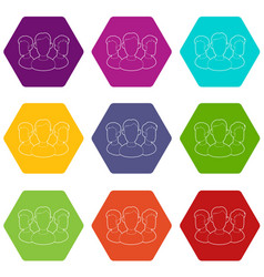 office team icons set 9 vector image