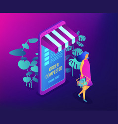online shopping concept isometric vector image