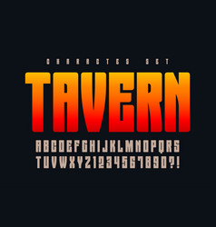 Original retro alphabet condensed letters and vector