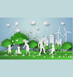 paper cut of eco with family vector image