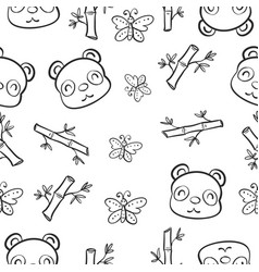 pattern panda and bamboo hand draw vector image