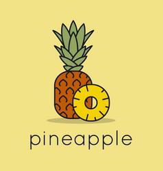 Pineapple fruit logo linear slice vector