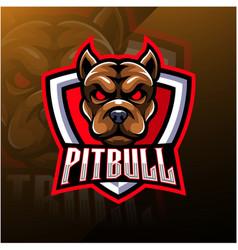 Pitbull head esport mascot logo vector