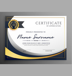 Premium wavy certificate template design vector