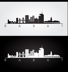 rabat skyline and landmarks silhouette vector image
