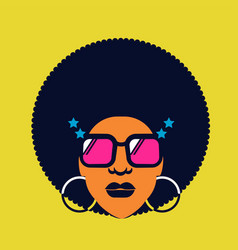 Retro disco woman 70s hairstyle color silhouette vector