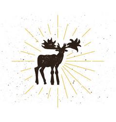 Retro moose silhouette logo vector