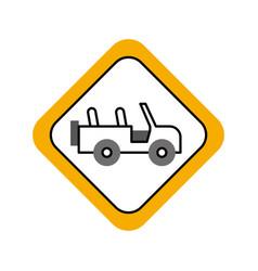 safari vehicle road sign vector image