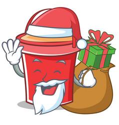 Santa with gift bucket character cartoon style vector