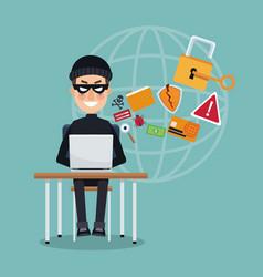 scene color thief hacker in desk with laptop vector image