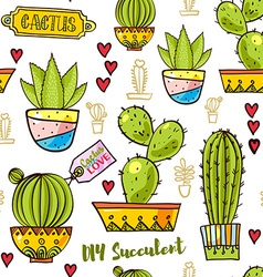 Seamless pattern of cacti and succulents in pots vector