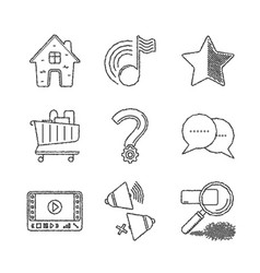 set of common website icons and concepts in vector image