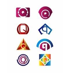 Set of letter Q logo Branding Identity Corporate vector image