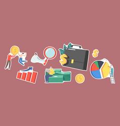 Set stickers investor portfolio theme tiny vector