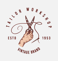 sewing scissors tailor shop badges label tool vector image