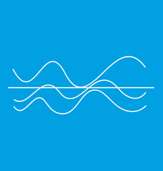Sound waves icon white vector