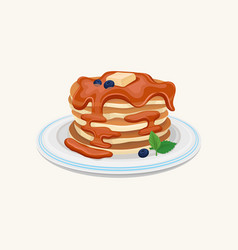 stack of tasty pancakes topped with honey or vector image