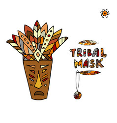 tribal mask ethnic sketch for your design vector image