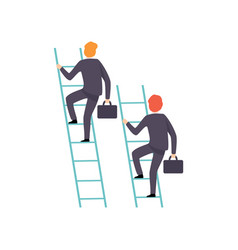 two businessmen climbing on ladder to success vector image