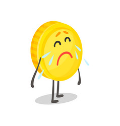 Unhappy weeping golden coin humanized character vector