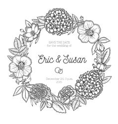Vintage floral wreath wedding invitation vector