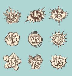 vintage versus hand drawn labels collection vector image