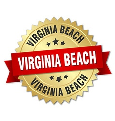 Virginia Beach round golden badge with red ribbon vector