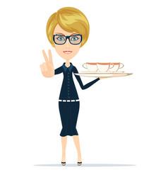 waitress serving coffee or tea vector image
