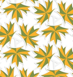 White 3D with colors green and yellow maple leaves vector image