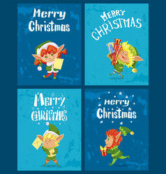 winter christmas card with elf and present vector image