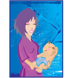Woman holding baby vector