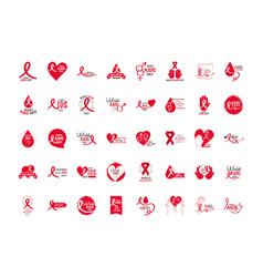 world aids day different text handwritten vector image