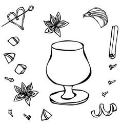 cognac or brandy balloon sketch hand drawn vector image vector image