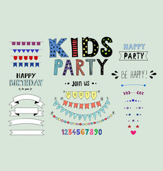 kids party doodles with design elements vector image vector image