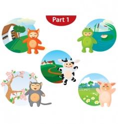 animal costume set vector image vector image