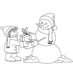 Christmas Snowman Gives Present To Boy Coloring vector image