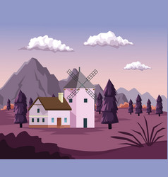 colorful background with dawn landscape of field vector image