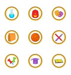 school equipment icons set cartoon style vector image