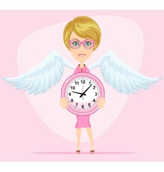 Woman holding a clock vector image vector image