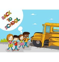 Back to school education kids walking to school vector image vector image