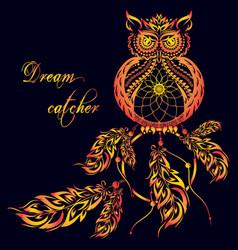 Dream catcher owl dark background vector