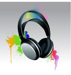 headphones brush paint vector image vector image
